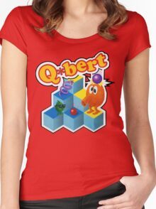Q*Bert Logo Women's Fitted Scoop T-Shirt