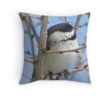 Cute chickadee sits on a branch in early spring Throw Pillow