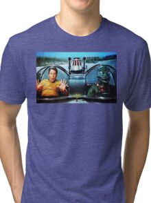 KIRK AND GORN BATMOBILE Oil Painting On Canvas Tri-blend T-Shirt