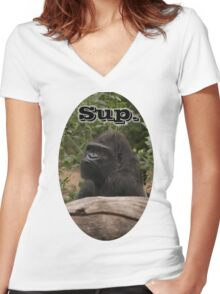 Sup, Gorilla Women's Fitted V-Neck T-Shirt