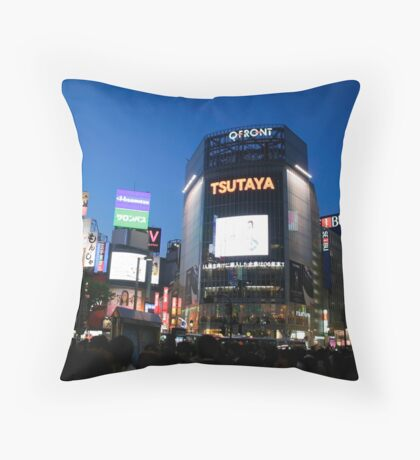 Shibya busy center in night time Throw Pillow