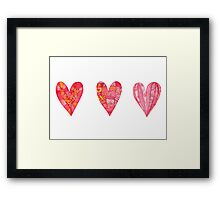 Hearts ,watercolor Framed Print