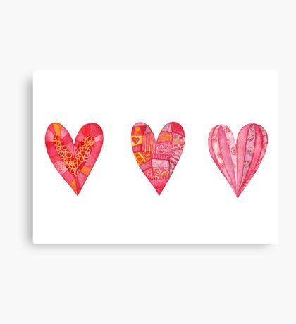 Hearts ,watercolor Canvas Print