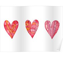 Hearts ,watercolor Poster