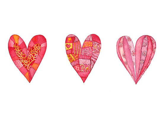 Hearts ,watercolor by vimasi