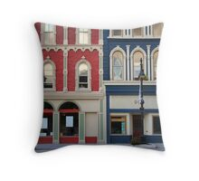 Red and blue historic buildings Throw Pillow