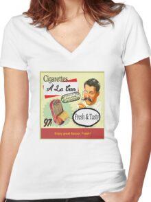 Cigarettes À La Can Women's Fitted V-Neck T-Shirt