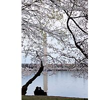 Silhoutted Couple By the Cherry Blossoms in Washington, D.C. Photographic Print