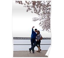 Couple Beside during the Cherry Blossom Festival Poster