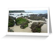 Beach with emerald rocks Greeting Card