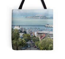 Cable Car Cityscape Tote Bag