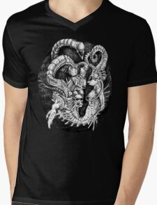 Inspired by Giger Non transparent. Mens V-Neck T-Shirt