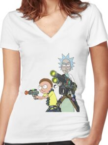 Badass rick and morty Women's Fitted V-Neck T-Shirt