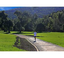 A beautiful landscape, with jogger Photographic Print