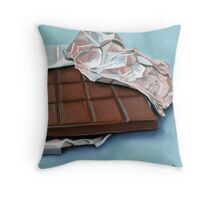 realistic chocolate bar painting Throw Pillow