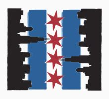 Chicago Flag and Skyline Sideways by ataglance101
