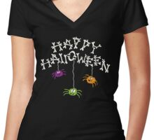 Happy Halloween Bones and Spiders Women's Fitted V-Neck T-Shirt