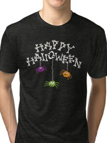 Happy Halloween Bones and Spiders Tri-blend T-Shirt