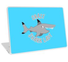 Crazy Shark lady in a circle Laptop Skin