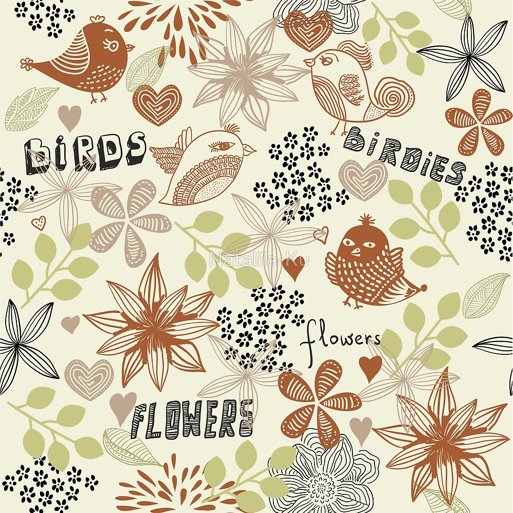 birds and flowers pattern by Nataliia-Ku