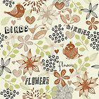 birds and flowers pattern by Nataliia-Ku