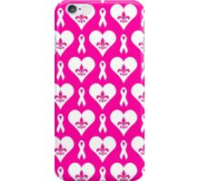 Think Pink Hearts and Fleur de Lis Pattern (White on Pink BG) iPhone Case/Skin