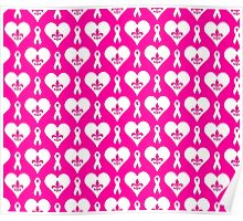 Think Pink Hearts and Fleur de Lis Pattern (White on Pink BG) Poster