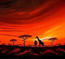 Giraffes at Daybreak by Shirley Shelton