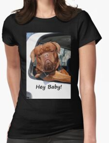 Greeting Card Dog Leaning Out of Car Womens Fitted T-Shirt
