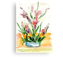 Red flowers in blue pot Canvas Print