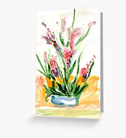 Red flowers in blue pot Greeting Card
