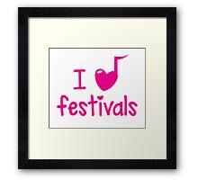 I (musical) heart music festivals Framed Print