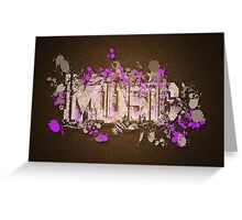 Music Graffiti Style In Purple And Brown Greeting Card