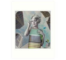 Girl in the big city Art Print
