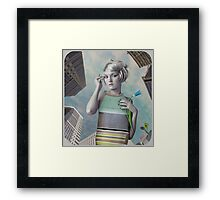 Girl in the big city Framed Print