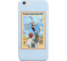 Pope Francis 2015 with doves cream background 1 iPhone Case/Skin