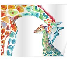 Giraffe Mommy and Baby Poster