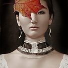 Autumn cappuccino. Beautiful asian girl and maple leaf. by Babarobot