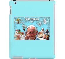 Pope Francis 2015 with aqua background 1 iPad Case/Skin