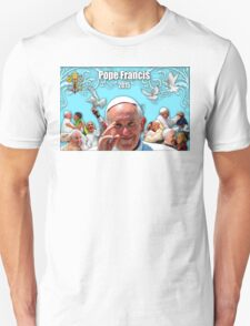 Pope Francis 2015 with aqua background 1 T-Shirt