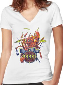 Rocking Lobster Women's Fitted V-Neck T-Shirt