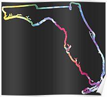 Florida Outline Tie Dye Poster