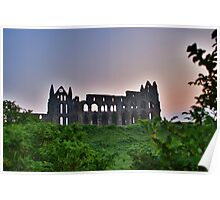 Whitby Abbey At Dawn Light Poster