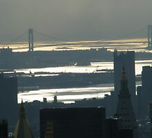 Verrazano Bridge, View from Top of the Rock  by lenspiro