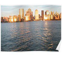 Hudson River Sunset, Lower Manhattan Poster