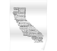 California Typography Map Poster