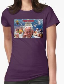 Pope Francis 2015 Wash DC Visit-Capitol building background Womens Fitted T-Shirt