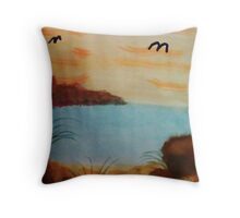 On the Beach with the Birds coming in, watercolor Throw Pillow