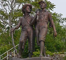 Tom Sawyer and Huckleberry Finn, Hannibal, Missouri, USA by Margaret  Hyde