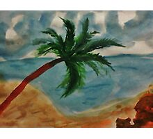 Tall Palm Tree hanging out, watercolor Photographic Print